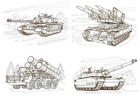 картина раскраски военная техника танки художник продажа